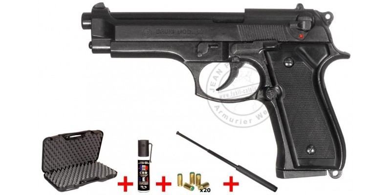 BRUNI Mod. 92 blank firing pistol - Black - 9mm blank bore