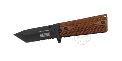 TAC FORCE knife - Combat Series - Black tanto blade - Woode style grip