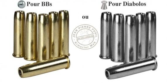 UMAREX - Lot de 6 douilles pour revolver 4.5mm CO2 - COLT Single Action Army 45 - BB ou Diabolo