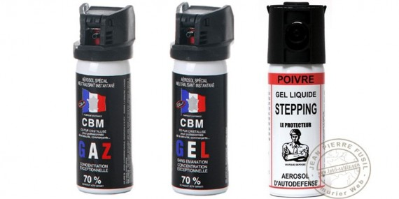 Lot de 3 bombes lacrymogènes 50ml Gaz CS + 50 ml Gel CS + 50 ml Gel Poivre - PROMOTION